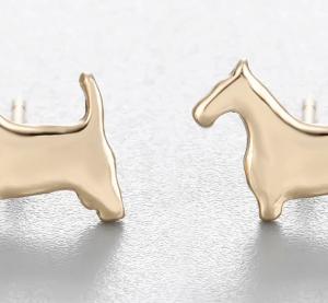 Earring studs terrier dog