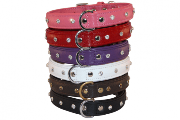 Angel Replica diamonds Rhinestone leather dog collar