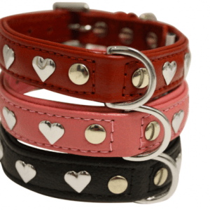 Angel Hearts soft leather dog collar