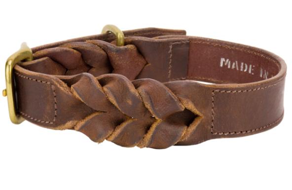 Angel Braided Leather dog collar Brown