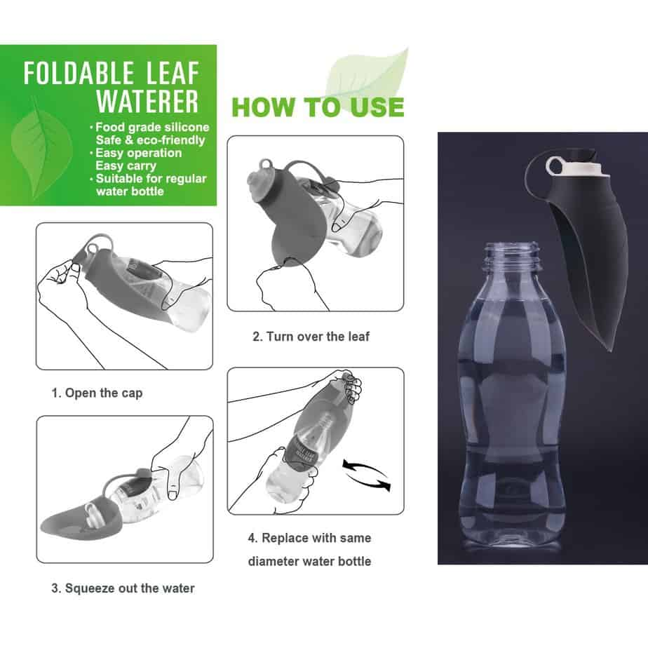 Dog water bottle with silicone leaf to capture water- black 700ml