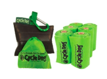 Cycle Dog pick up bags made from corn and starch, compostable