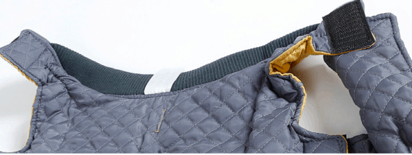 Quilted dog coat vintage yellow with harness hole