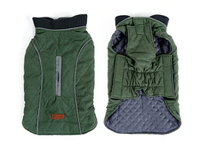 Quilted rain proof forest green dog coat