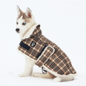 Shedrowk9 sherpa lined tradition plaid designed dog coat
