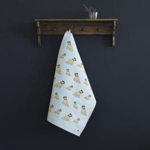 Pug Tea Towel organic cotton