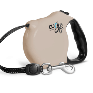 Curli retractable leash beige, medium.