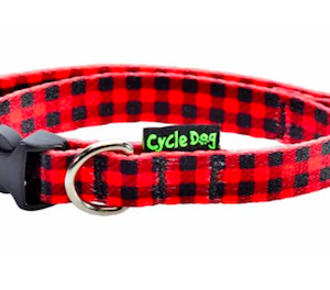 Cycle Dog dog collar skinny eco weave red plaid for small dogs made from plastic bottles