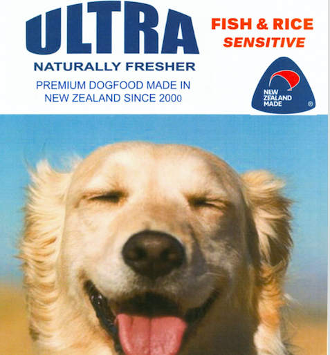 Ultra Premium dog food Fish and Rice sensitive for itchy skin made in New Zealand