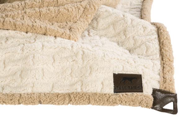 Tall Tails Embossed bones sherpa dog blanket cream and tan
