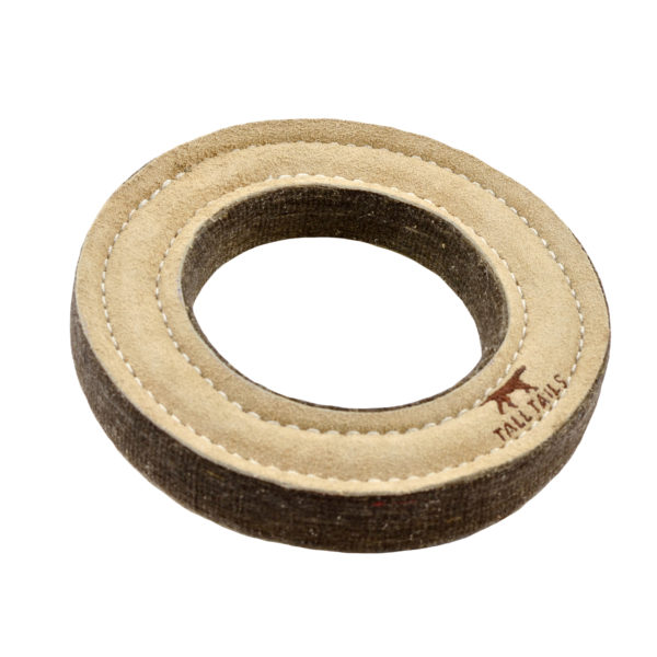 Tall Tails Natural Leather and Wool Ring tug dog toy