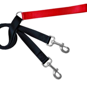 2 Hounds Euro double connecting training dog leash red