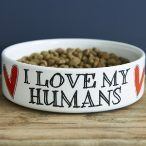Sweet William I Love My Humans dog bowl